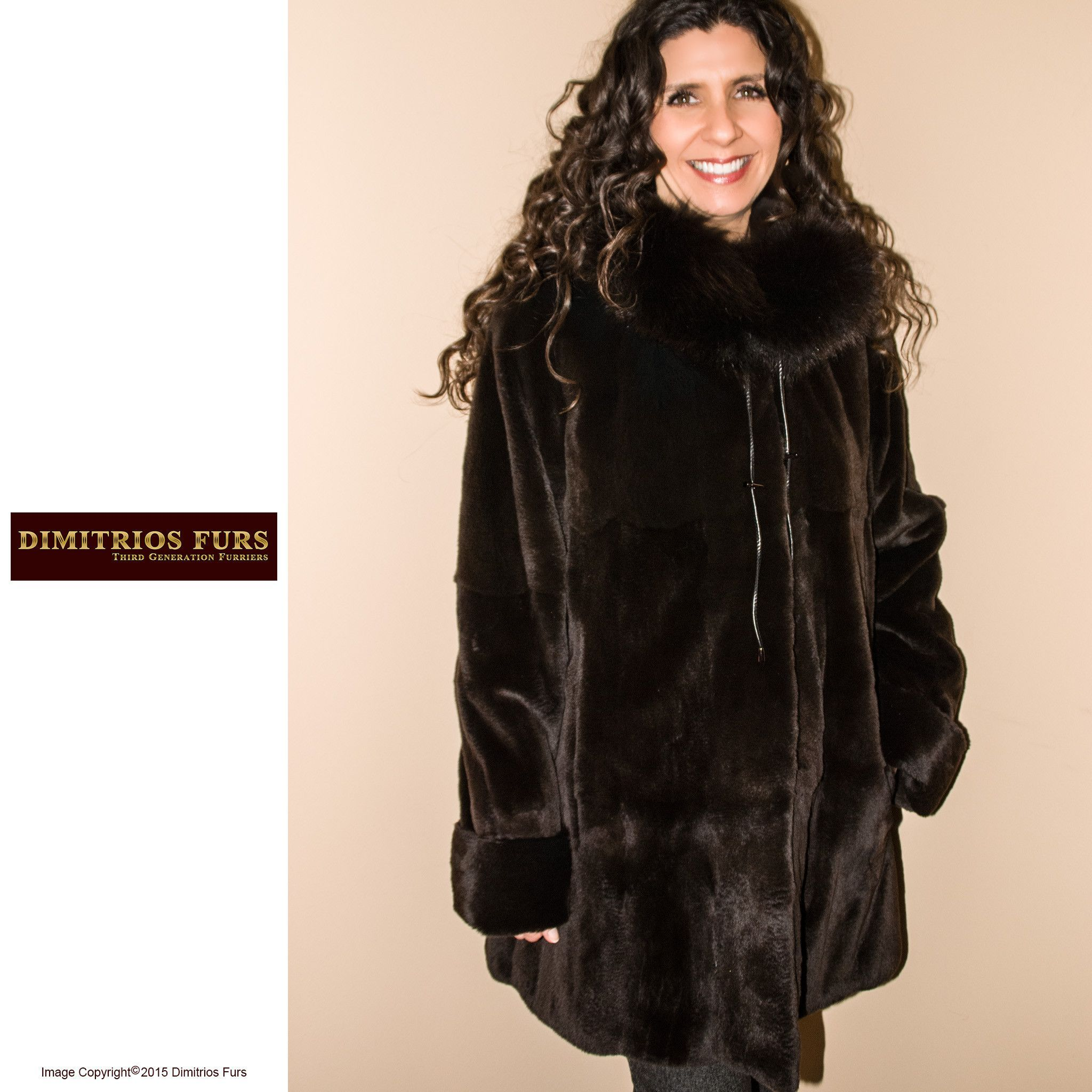 6545b6f7299 Reversible Fur Coat - Brown Sheared Mink with Fox Trimmed Hood ...