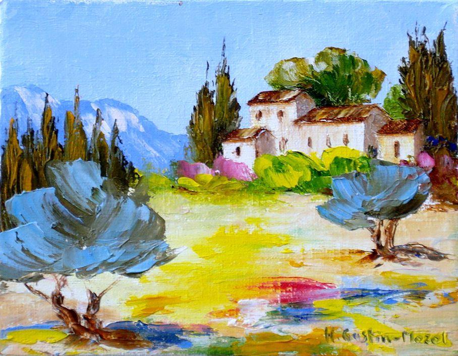 Site peinture a l huile mozol mas du luberon 14 x 18 cm peinture l 39 huile au - Peinture au couteau huile ...