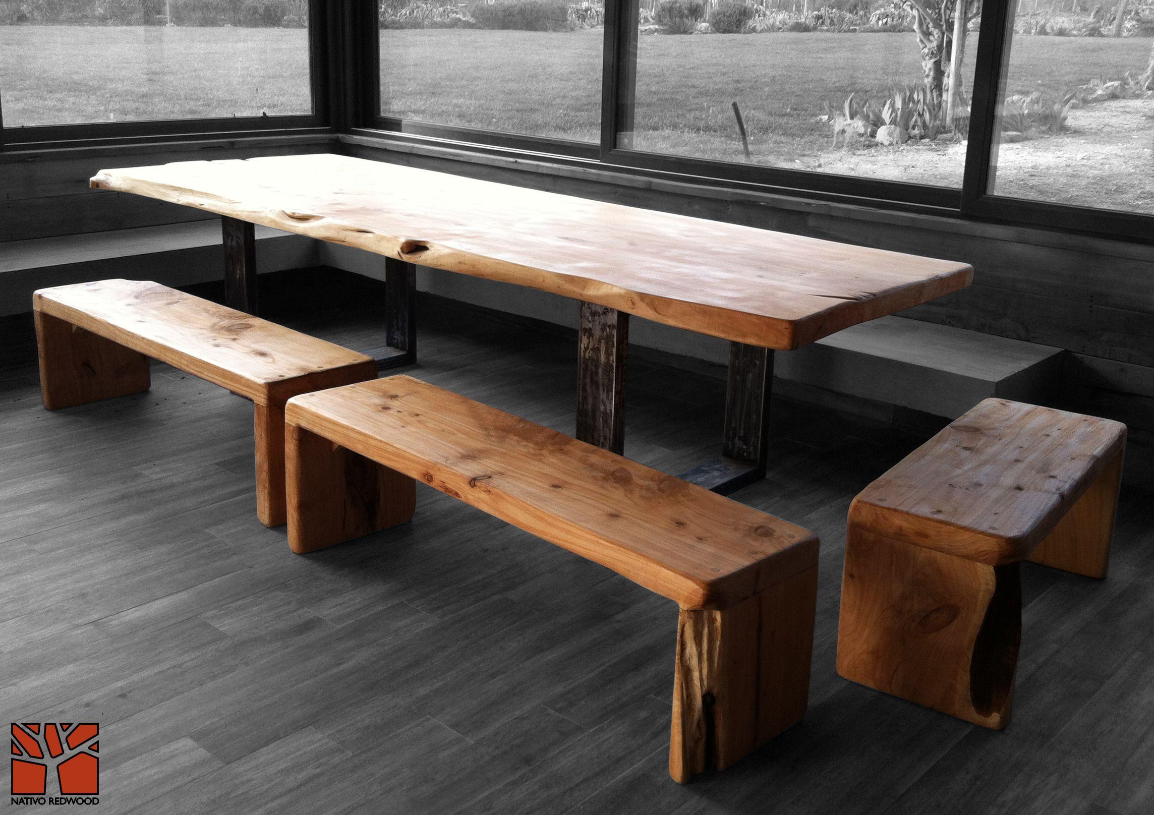 Nativo Redwood. Mesa Comedor con Cubierta de madera de Cipres 1.20x3 ...