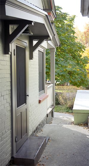Side Door Awning Remodel Victorian Cottage Backyard