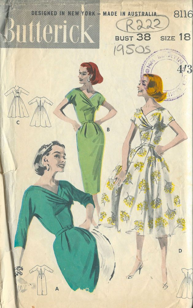 1950er Vintagekleid Nähmuster für Kleid B38 (R222) | Dress patterns ...