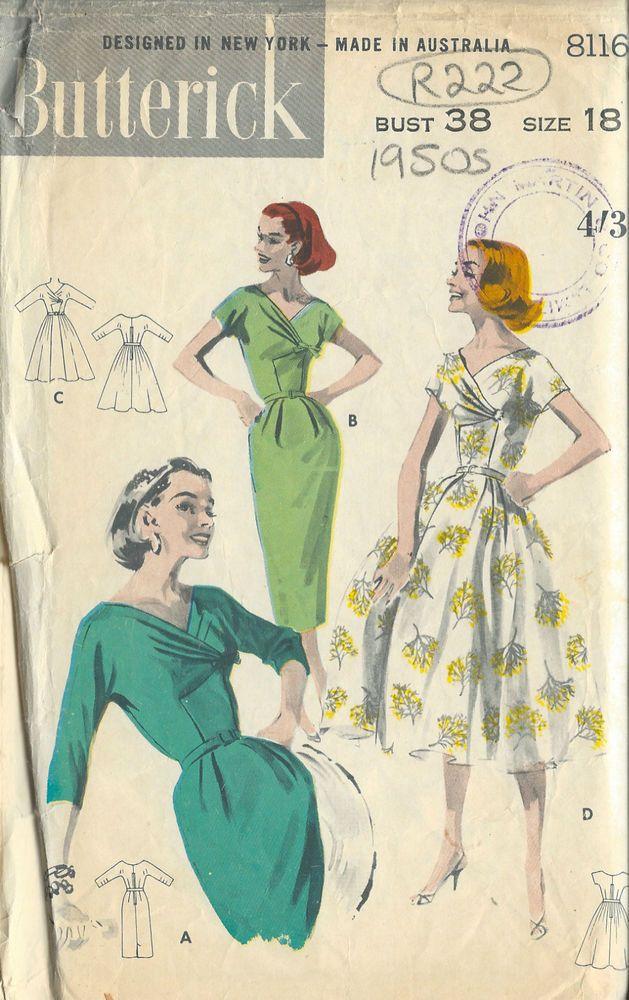 1950er Vintagekleid Nähmuster für Kleid B38 (R222) | sewing ...