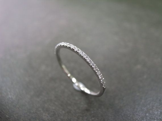 15mm Diamond Wedding Band in 14K White Gold Thin Ring Diamond