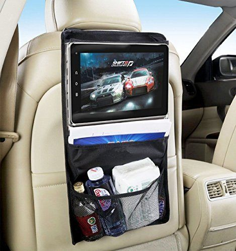 Zone Tech Backseat Automobile Storage Organizer With Touch Screen Accessible Ipad And Tablet Pocket Premium Quality Black Headrest Convenient
