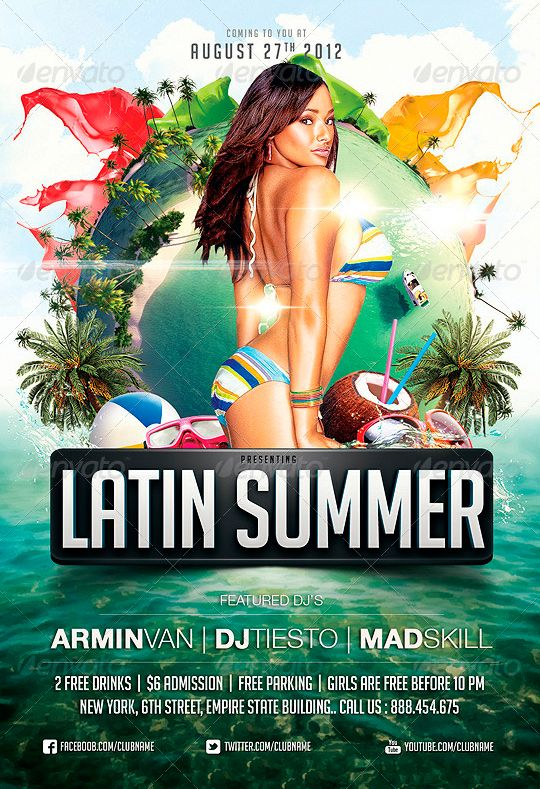 Latin Summer Party Flyer - http://www.ffflyer.com/latin ...