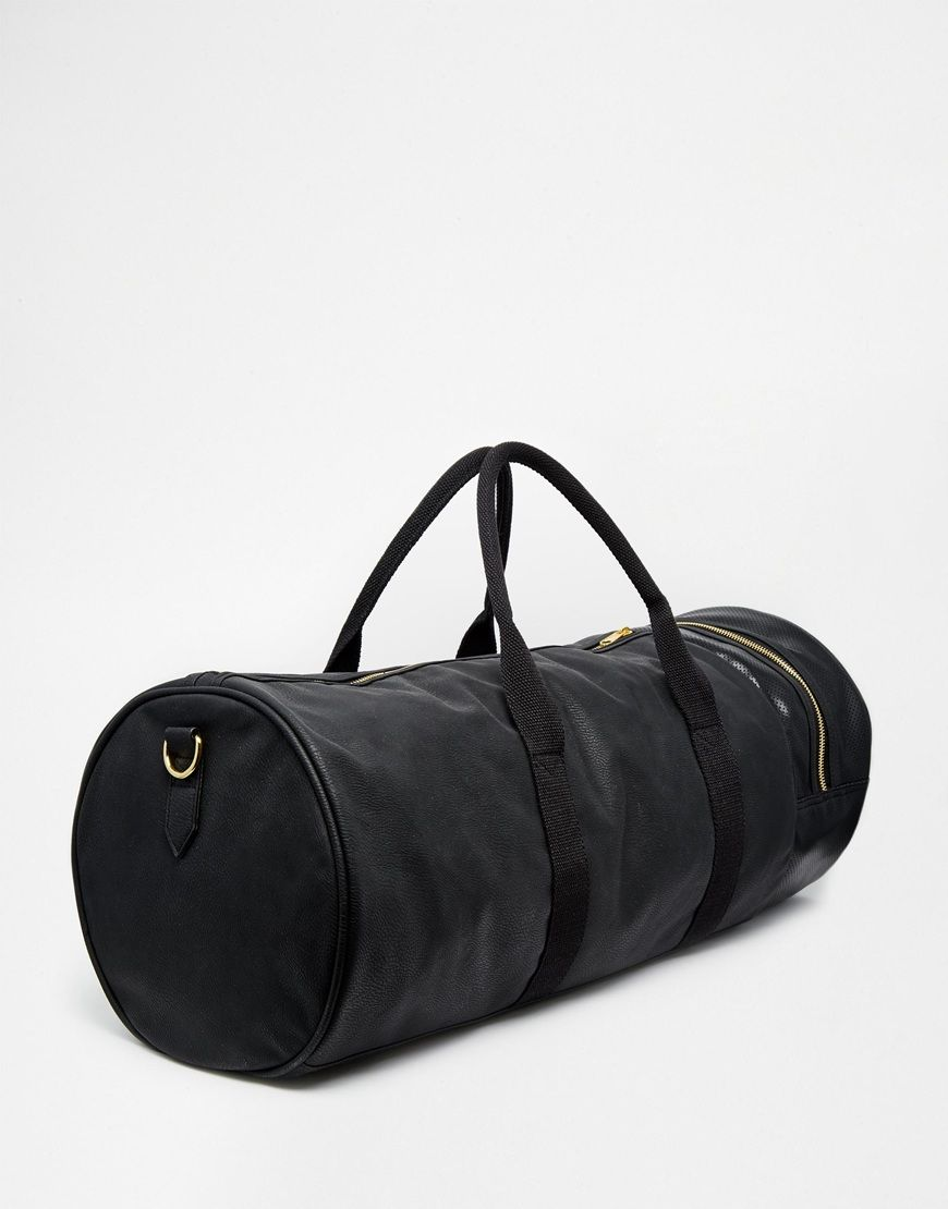 Image 2 of ASOS Barrel Bag In Black With Gold Zips