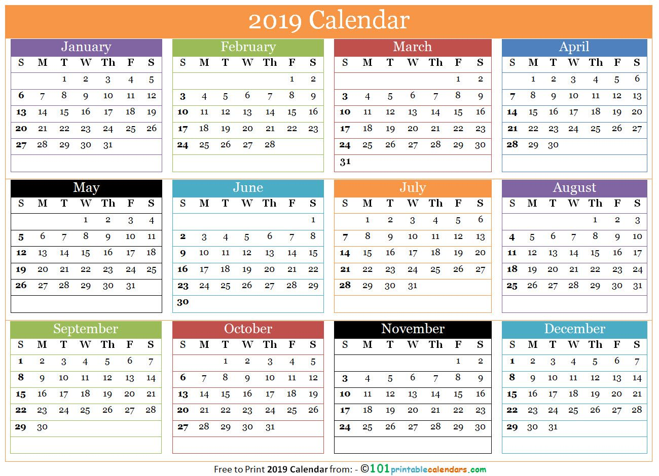 Free Printable 12 Months Calendar 2019 In One Page 12 Month