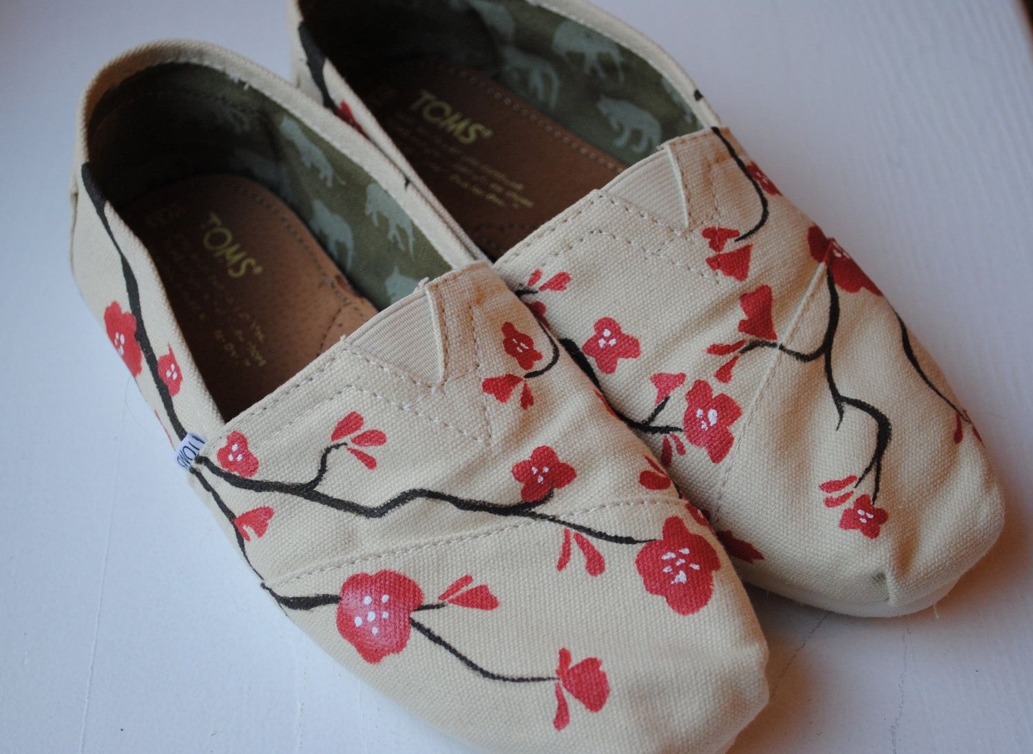 Toms Design painted toms in cherry blossom design custom painted