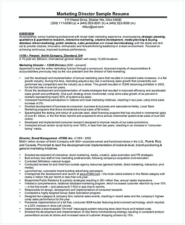 Senior Marketing Manager Resume  Resume For Manager Position