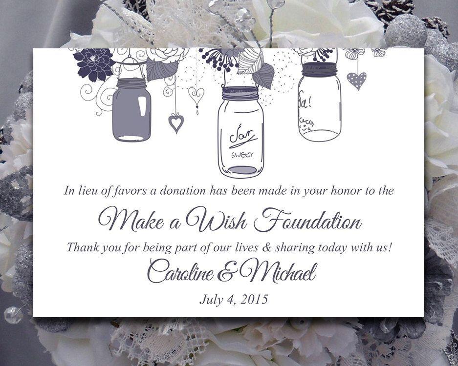 Wedding Favor Donation Card Template Mason Jar Wedding Charity