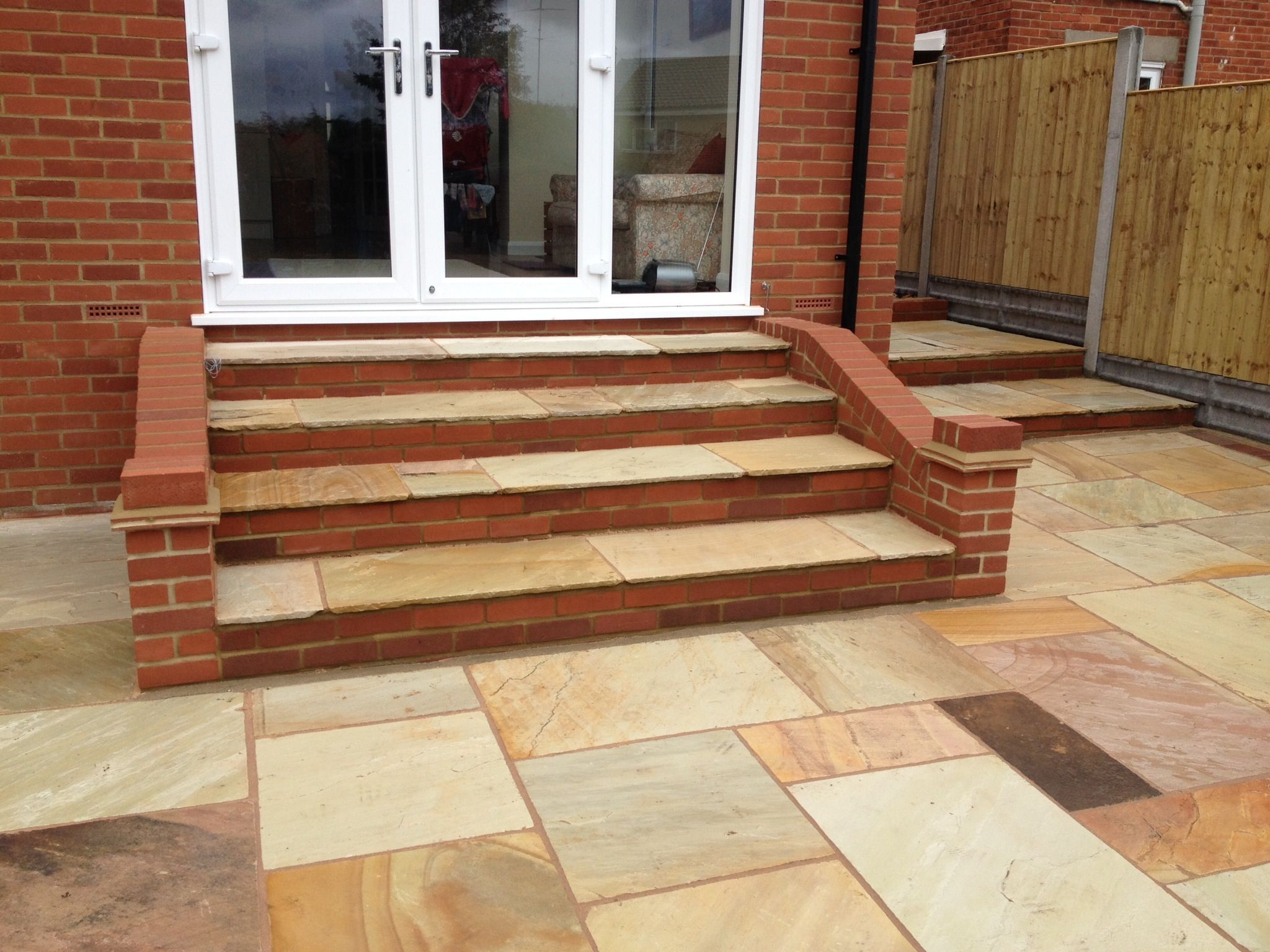 Patio\'s: garden steps/patio/paved with Sandstone (sunset) | Garden ...