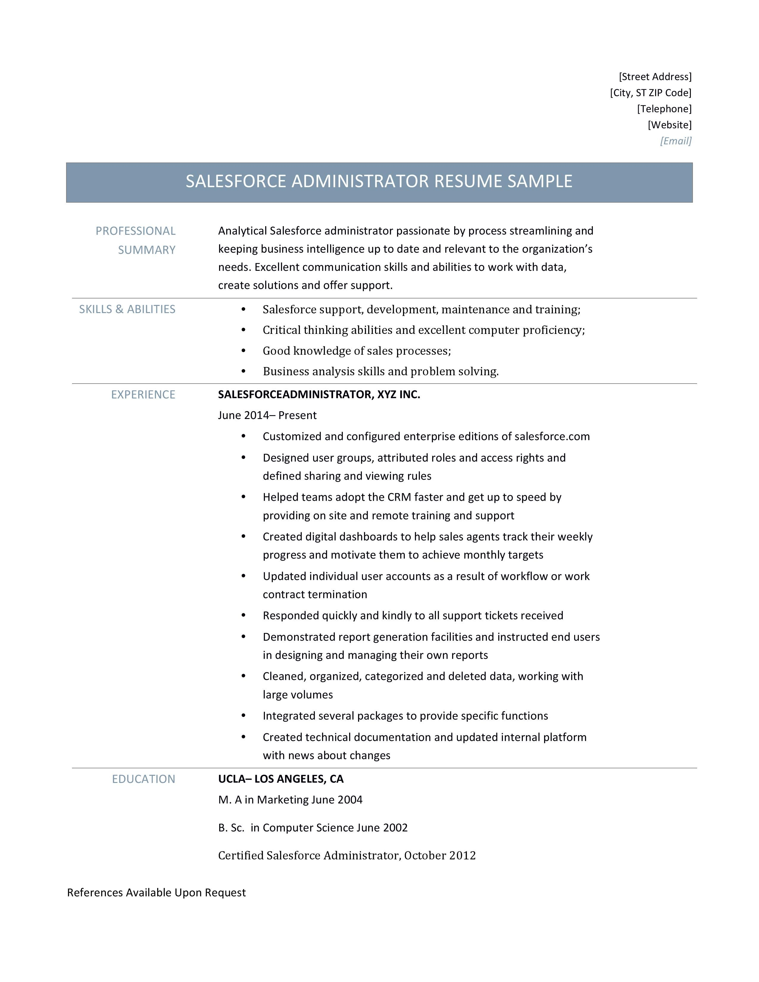 Sales Force Administrator Resume Template Salesforce