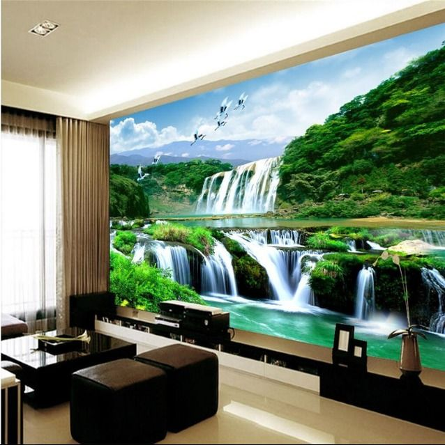 3d wallpaper mural waterfall nature bedroom living room tv for Nature room wallpaper