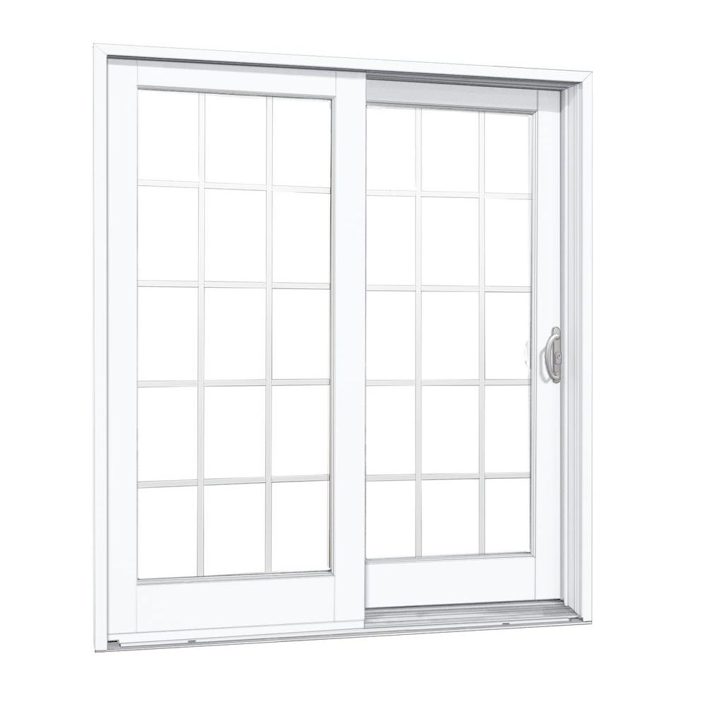 Mp Doors 72 In X 80 In Smooth White Right Hand Composite Pg50 Sliding Patio Door With 15 Lite Gbg G6068r002w350 Sliding Patio Doors Patio Doors Double Sliding Patio Doors