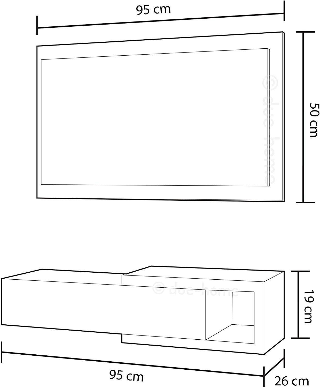 Altezza Specchio Ingresso habitdesign 0l6743a - mobile da ingresso con cassetto e