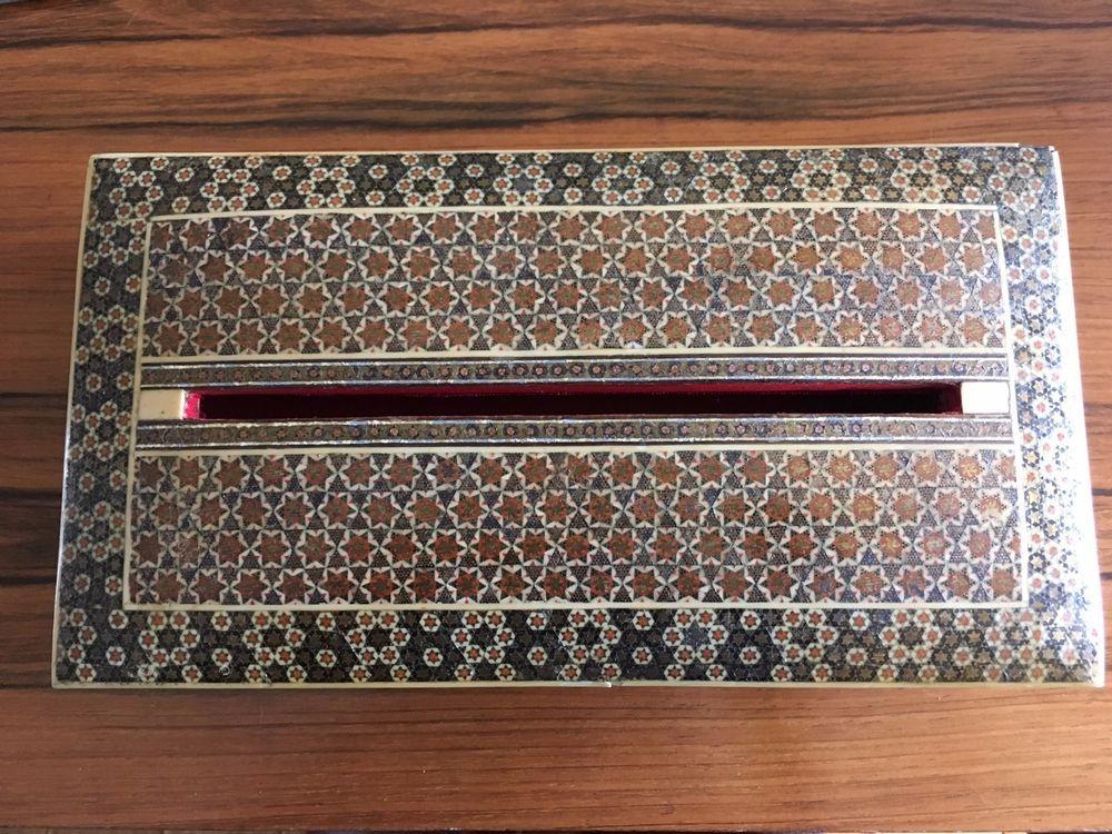 Mosaic inlay letter box Vintage Persian wood (bone?) Antique