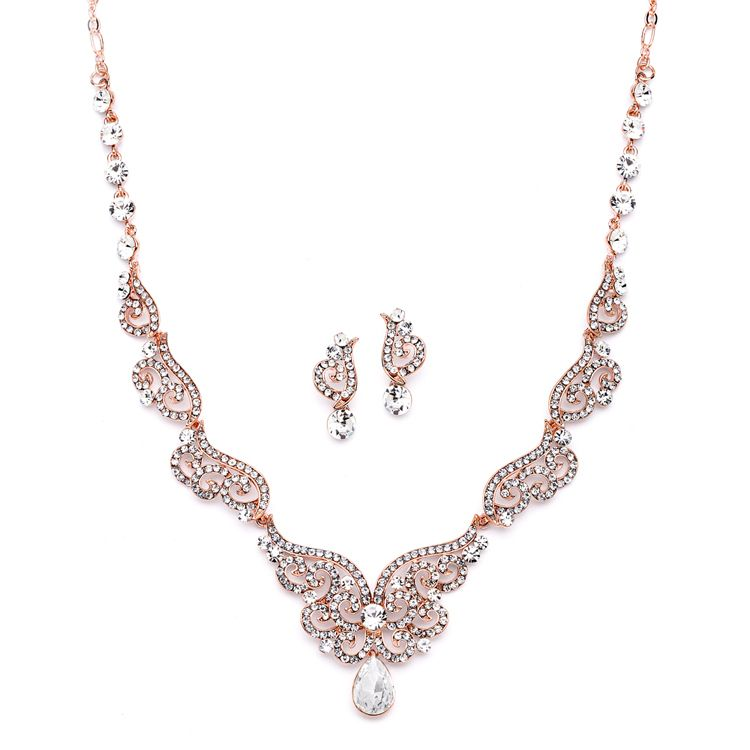 Rose Gold Art Deco Wedding and Prom Jewelry Set Prom jewelry Gold