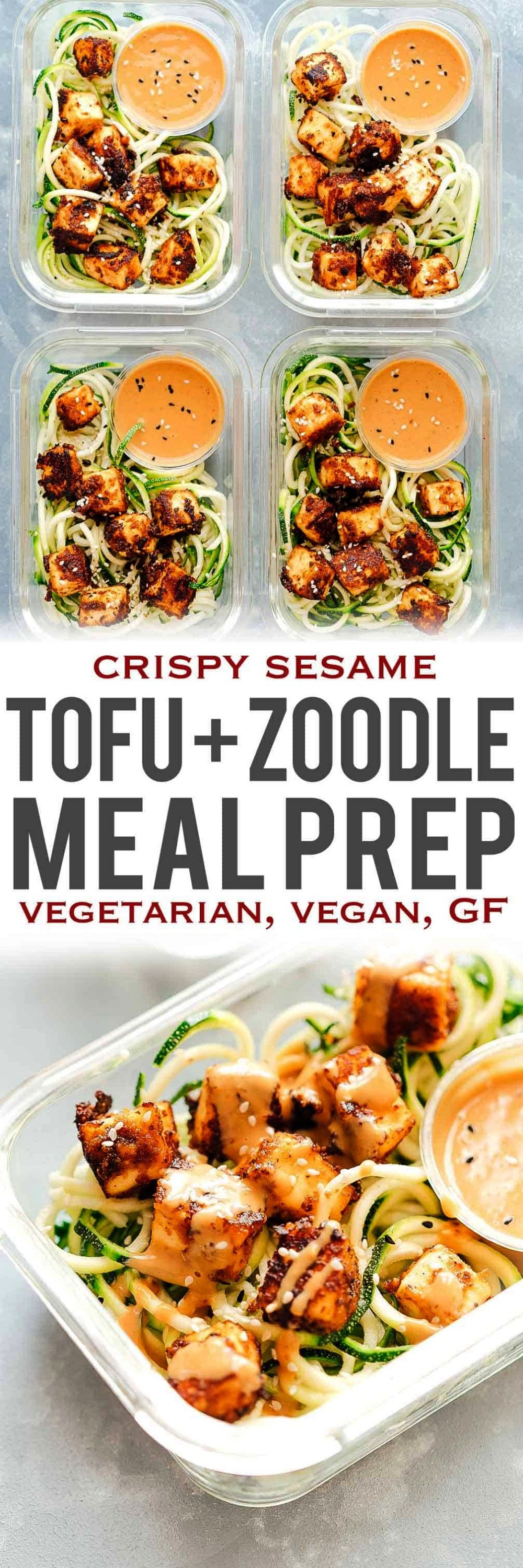sesame tofu with zucchini noodles is the perfect healthy, vegetarian meal prep lunch recipe that is