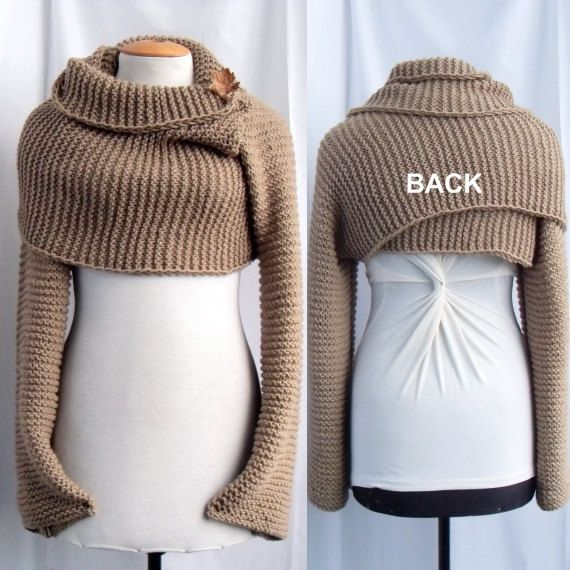 Knitting Pattern Scarf With Sleeves : The long scarf/shawl with sleeves at both ends turns into a sweater in an ins...