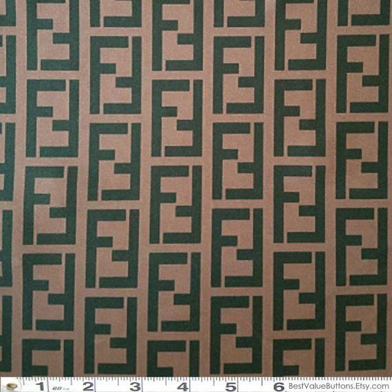 89a808cce Spandex Fabric, Fendi Brown Black FF Designer Inspired Fabric, 4Way Stretch  Lycra Knit Spandex By The Yard 58