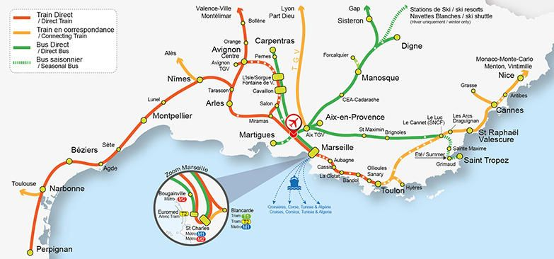 Carte Des Transports Aeroport Marseille Provence Train Map