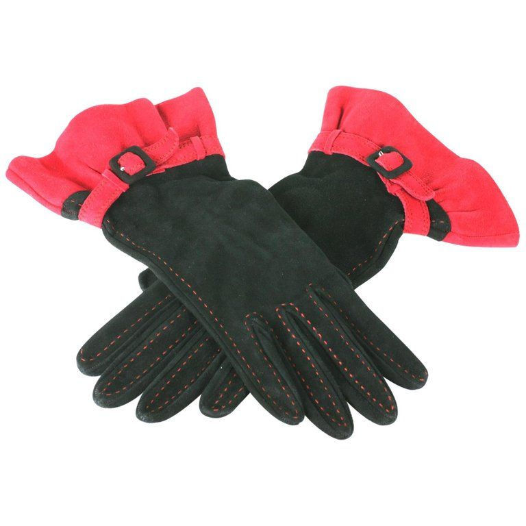 NEW!! Black and Red Ruffle Gloves
