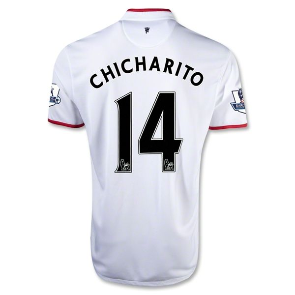 3e8e5efc240 12/13 Manchester United #14 chicharito away Soccer white Jersey ...