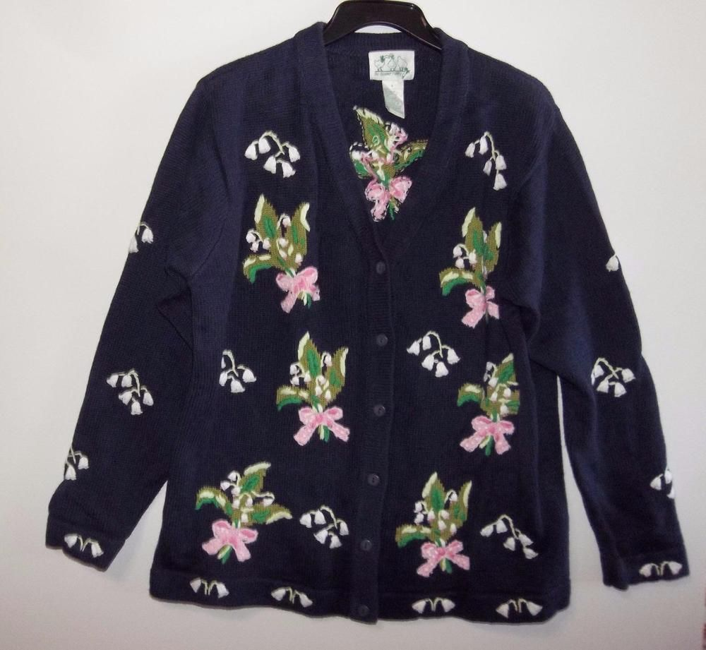Quacker Factory Women's Large Blue Floral Embroidered Cotton