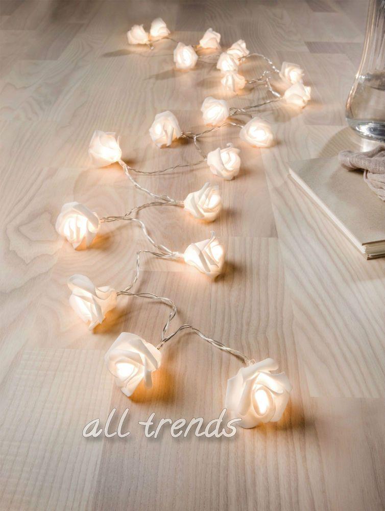 20er LED-Lichterkette Rosen Blumen Blüten Deko Lichter Muttertag