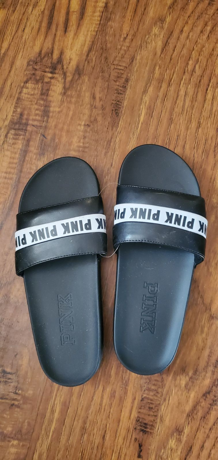 New With Tags Pink Slides Color Black And White Stripes Size Large Material Faux Leather Strap Rubber Sole Pink Slides Pink Sandals Large Black