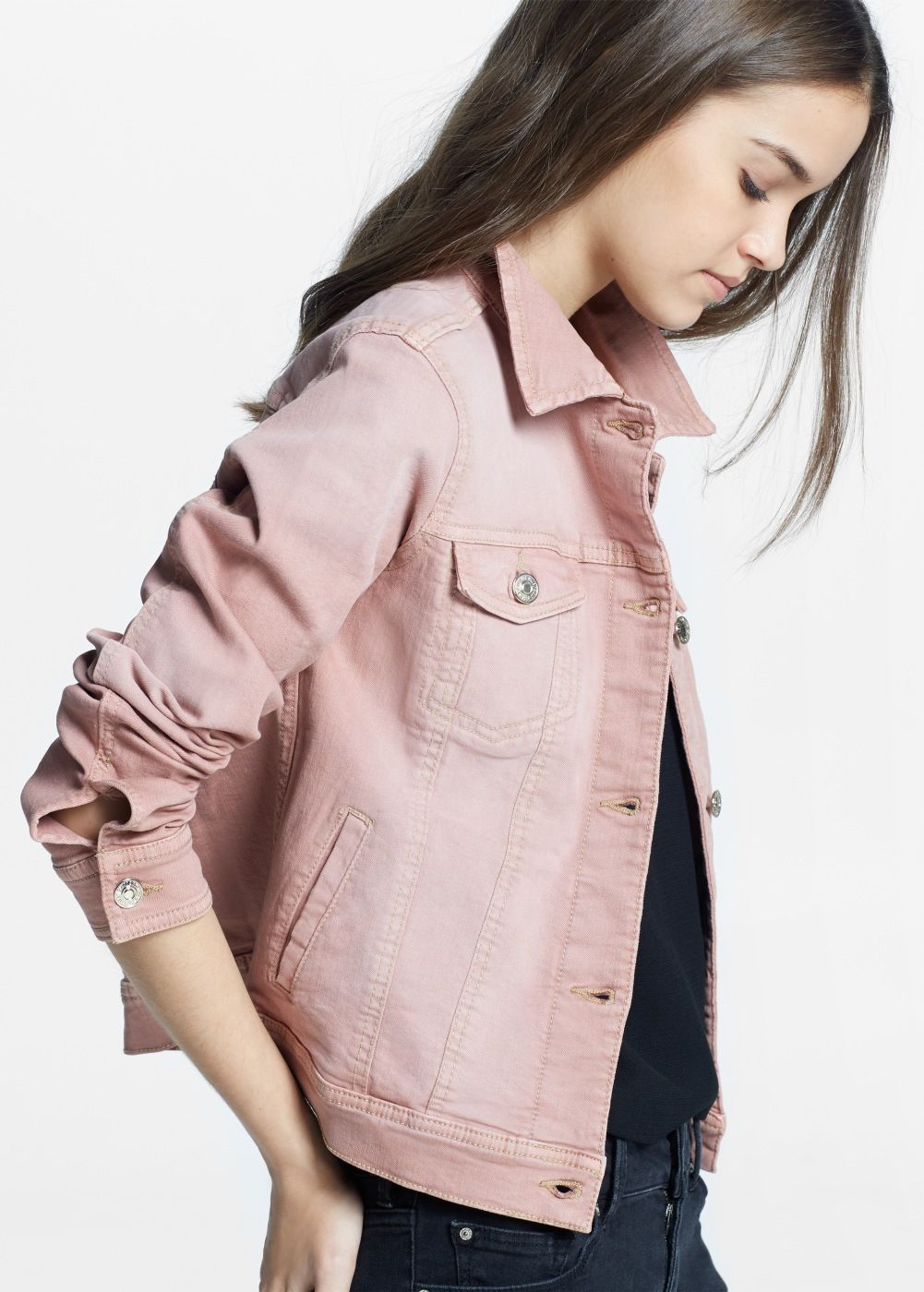 6707b3c3e8 Pink denim jacket - Women in 2019   Cool Stuff   Pink denim jacket ...