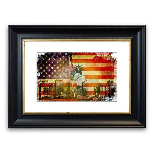East Urban Home Gerahmtes Poster Amerikanische Flagge NYC | Wayfair.de
