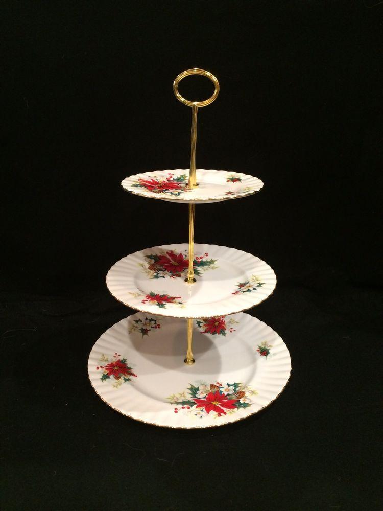 Royal Albert Bone China Poinsettia Christmas 3 Tier Cake Stand Plate Serving Royalalbert Cake Plates Stand Tiered Cake Stand 3 Tier Cake Stand