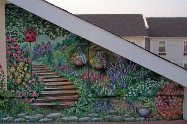 Exterior Wall Murals | ... How To Make Outdoor Wall Murals Garden Wall Mural
