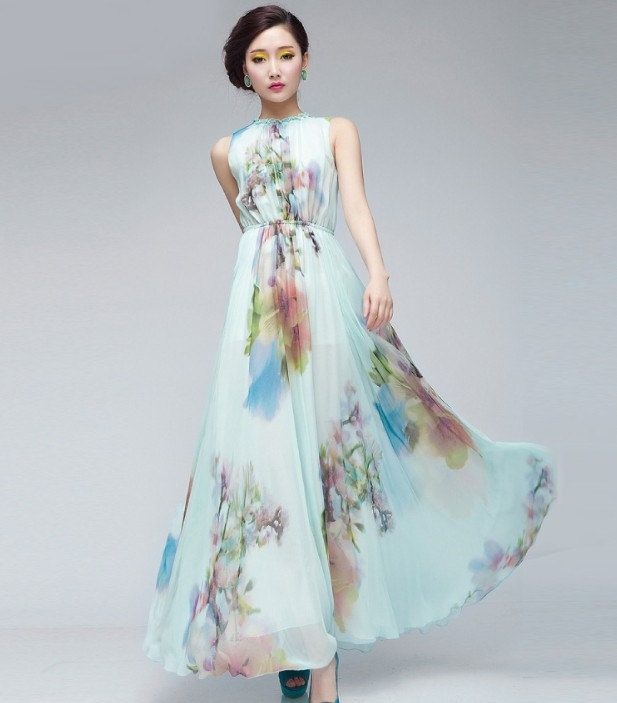15 Off Light Blue Floral Print Aline Dress Bohemian by ChineseHut, $159.00