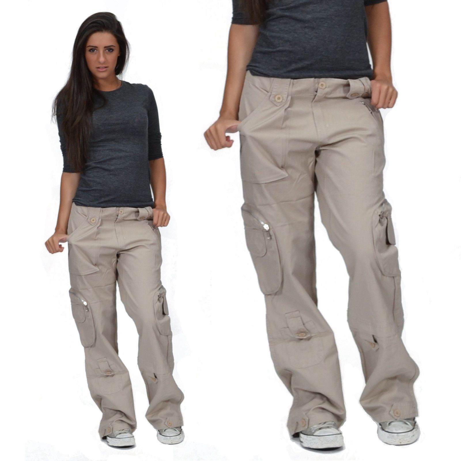 Details about New Ladies Womens Beige Wide Loose Cargo Combat ...