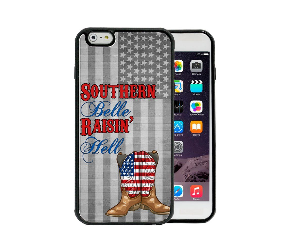 U.S.A. Cowgirl Boots & Flag Wood Southern Belle Raisin Hell Quote Apple iPhone 6 Plus, 5.5 Rubber TPU Silicone Phone Case. Attention Buyer: Only purchase from Legend Graphics, any other seller selling this item is counterfeit and a fake. Lightweight and slim material. Durable material and easy access to ports & buttons. Made precisely for this phone model, giving this case an undoubtedly perfect fit. Attention Buyer: This case is for the iPhone 6 Plus, 5.5 inch.