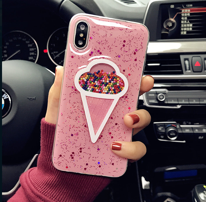 Glitter Bling Pink Iphone X Case 3d Dynamic Ice Cream Phone Case For Iphone X Capa Cover Iphone 7 8 Plus Cases Tpu I Iphone Capinhas Iphone Capas Para Telefone