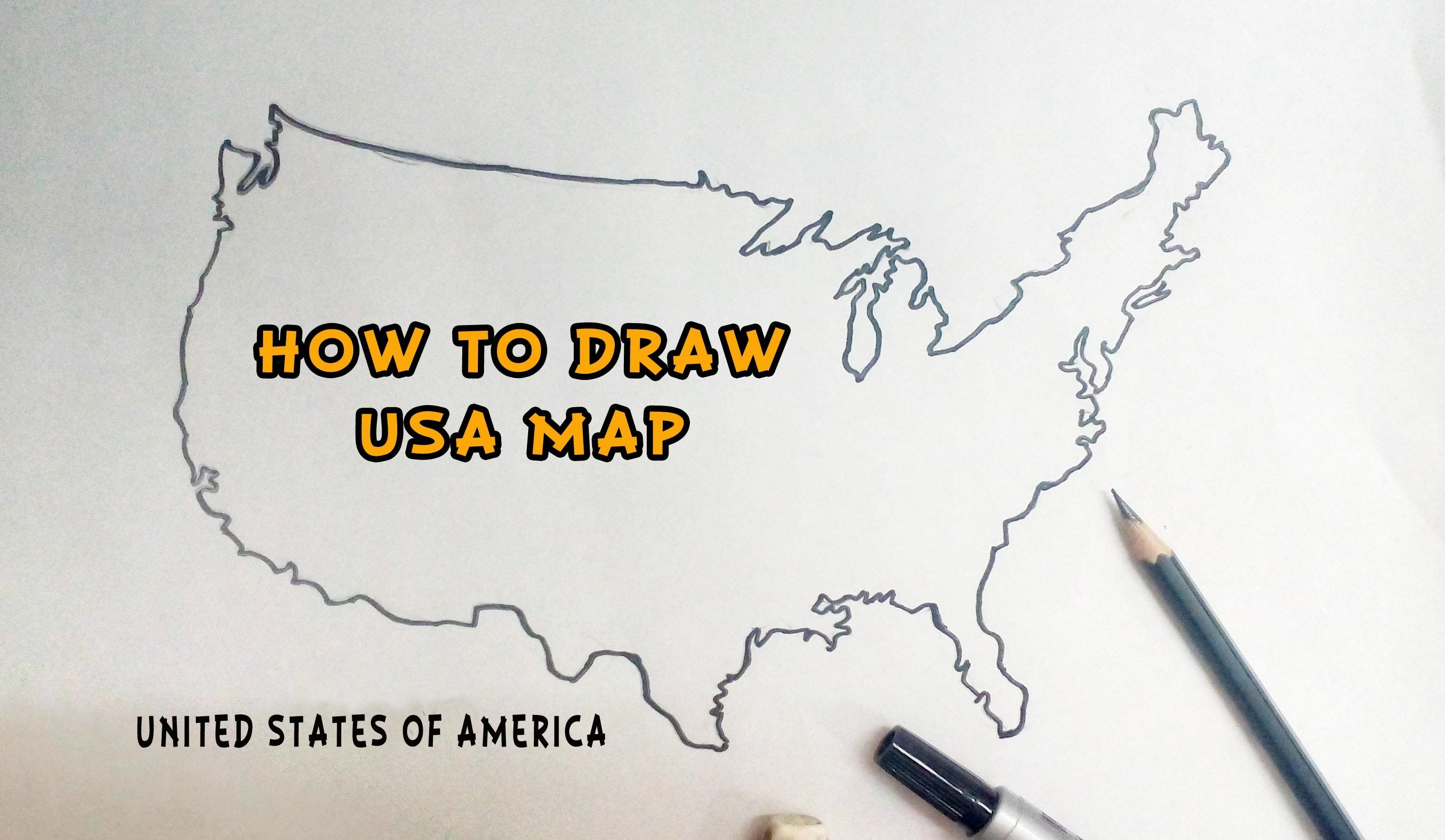 How To Draw United States Of America USA Map Drawing Tutorials Battu ...