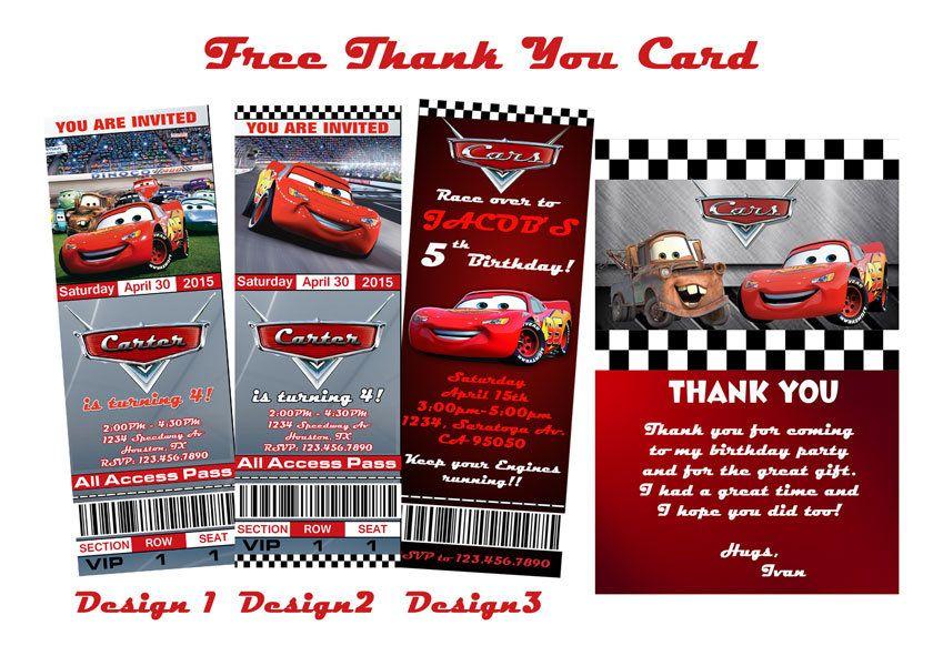 Disney Cars Cumpleanos Invitacion Boletos Boleto Estilo Birthday InvitationsDisney