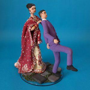 Personalised Handmade Asian Bride And Groom Wedding Cake Topper