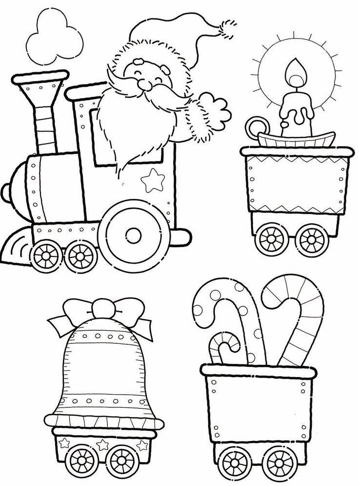 Santa Train Coloring Page Cutout Christmas Train Christmas Coloring Pages Train Coloring Pages