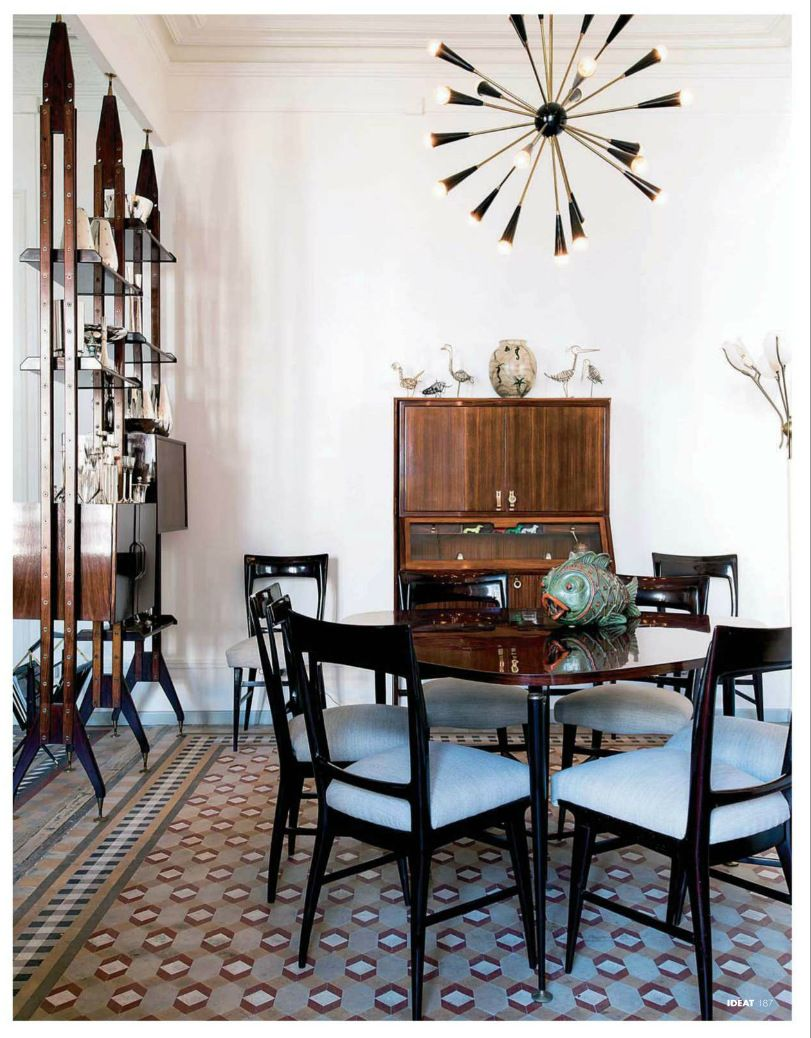 01c4295215485 Mid Century Modern inspired dining room featured in Ad Spain. Todays  designers have been influences by the design innovations of the first half  of the 20th ...