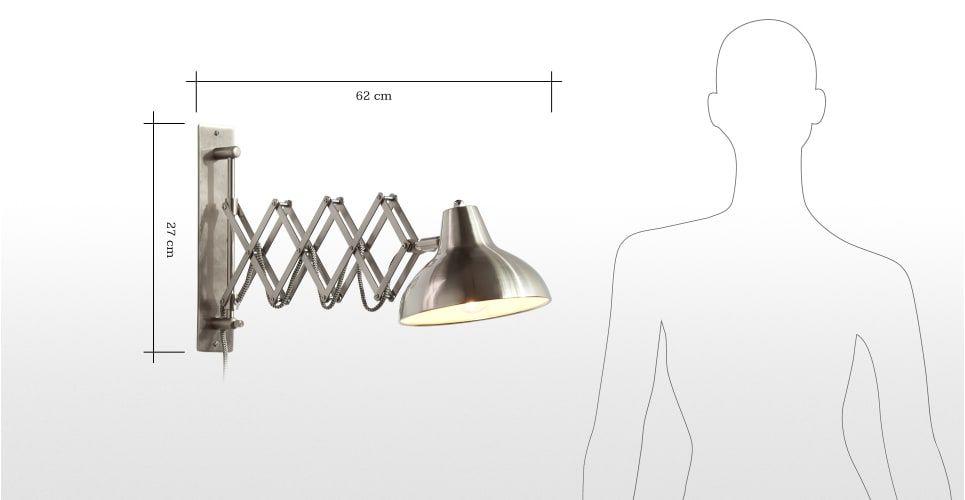 Frosini wandlamp in geborsteld roestvrij staal - Wandlamp, Staal en ...