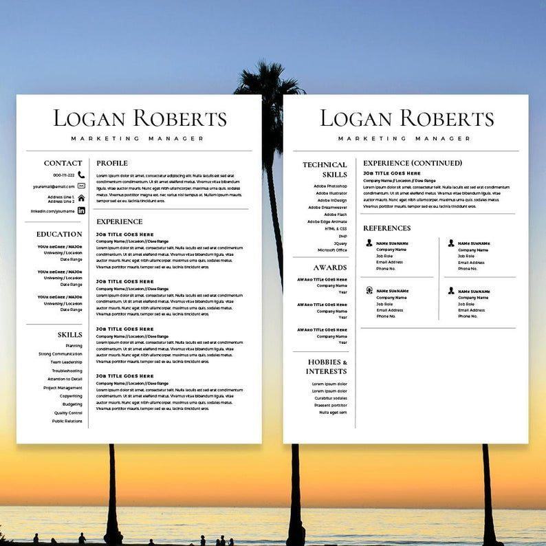 Resume Template, CV Template for Word, Cover Letter, Two