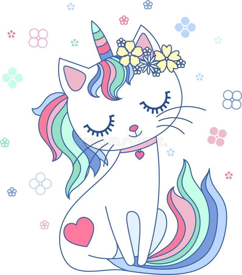 Cute Cartoon Rainbow Cat Unicorn Vector Royalty Free