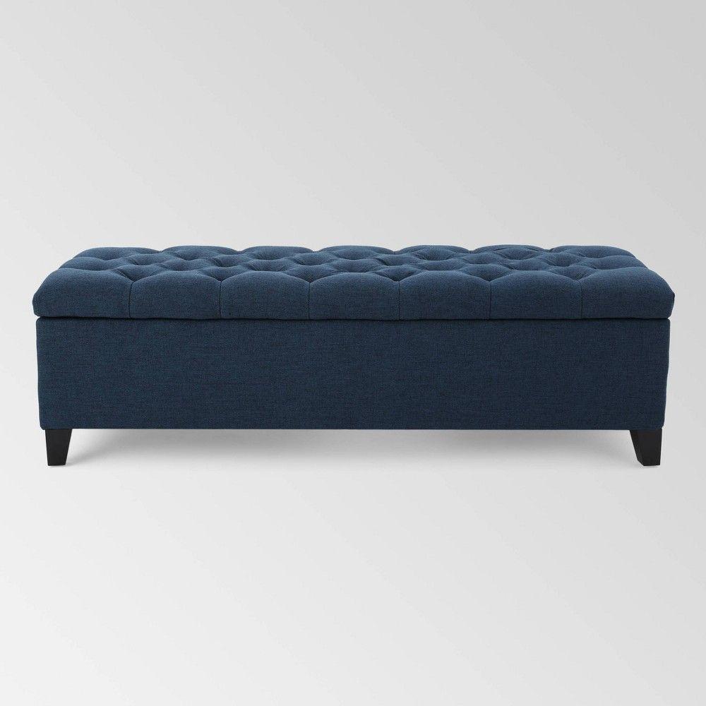 Ottilie Storage Ottoman Dark Blue Christopher Knight Home Storage Ottoman Ottoman Upholstered Storage