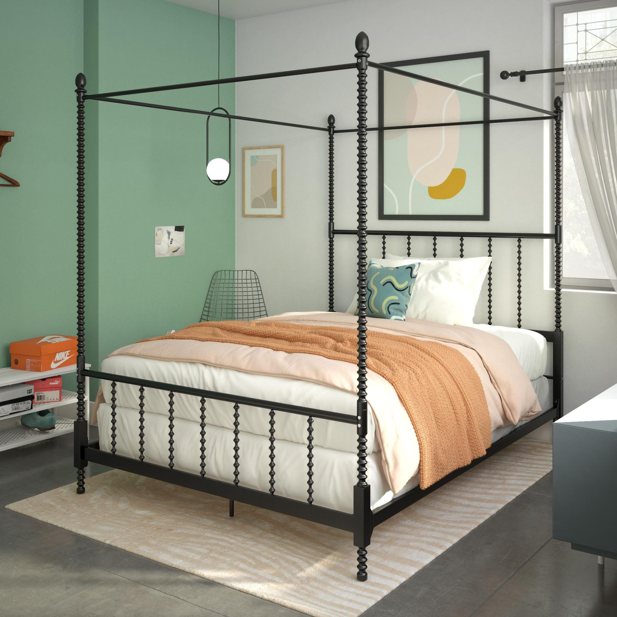 DHP Anika Metal Canopy Bed, Twin Size Frame, Bedroom