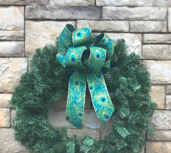4 Large Teal Linen Peacock Wired Bows-Peacock Ribbon-Christmas