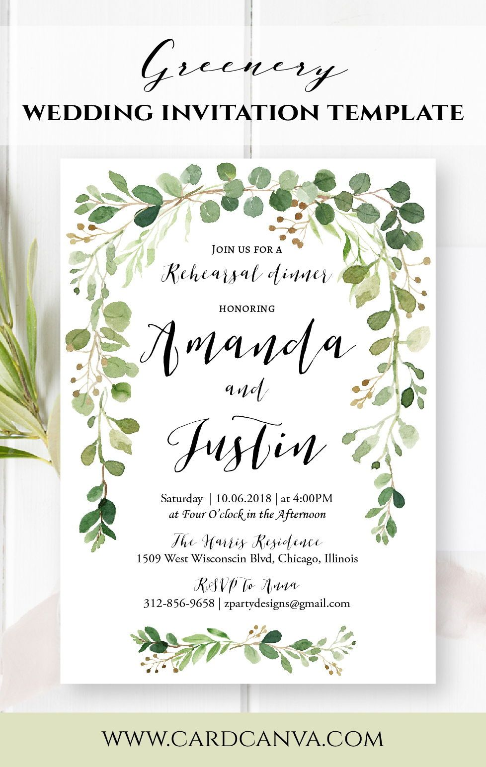 Greenery Rehearsal Dinner Invitation Wedding